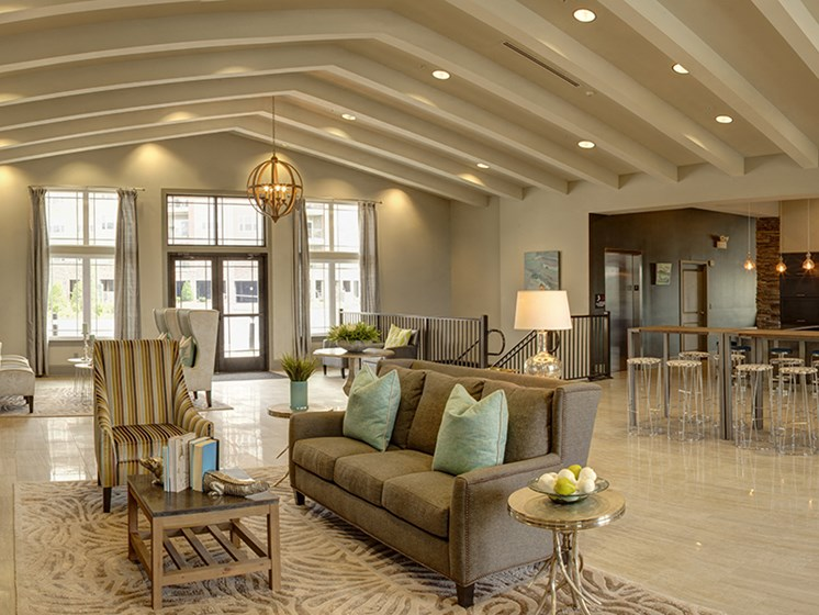 Panoramic of the Resident Clubhouse at LangTree Lake Norman Apartments