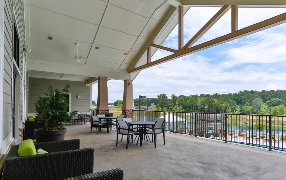 Exterior Terrace at LangTree Lake Norman Apartments