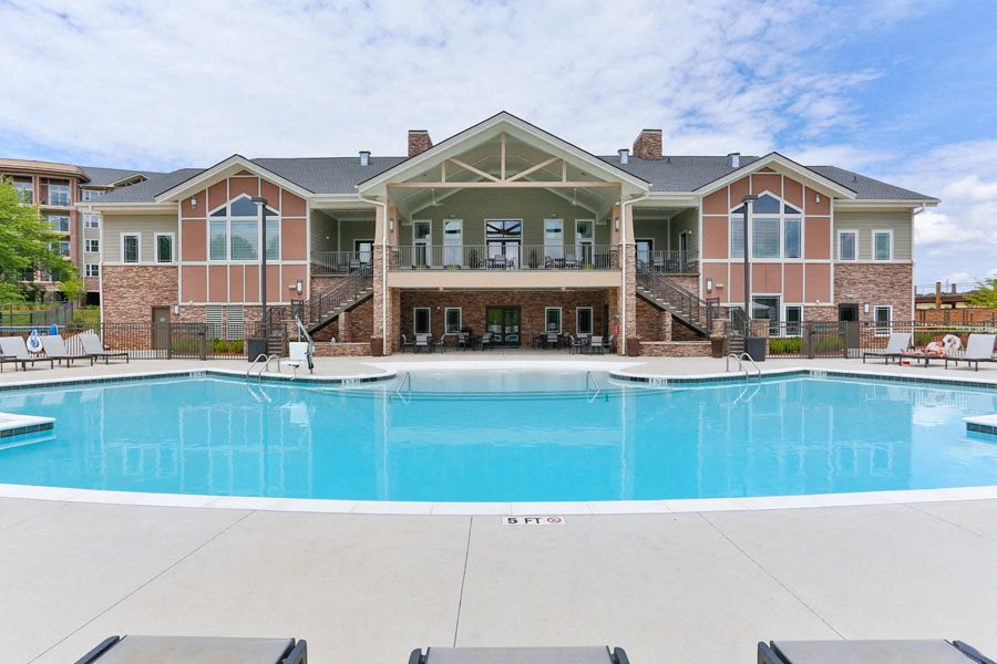 Resident Clubhouse and Swimming Pool at LangTree Lake Norman Apartments
