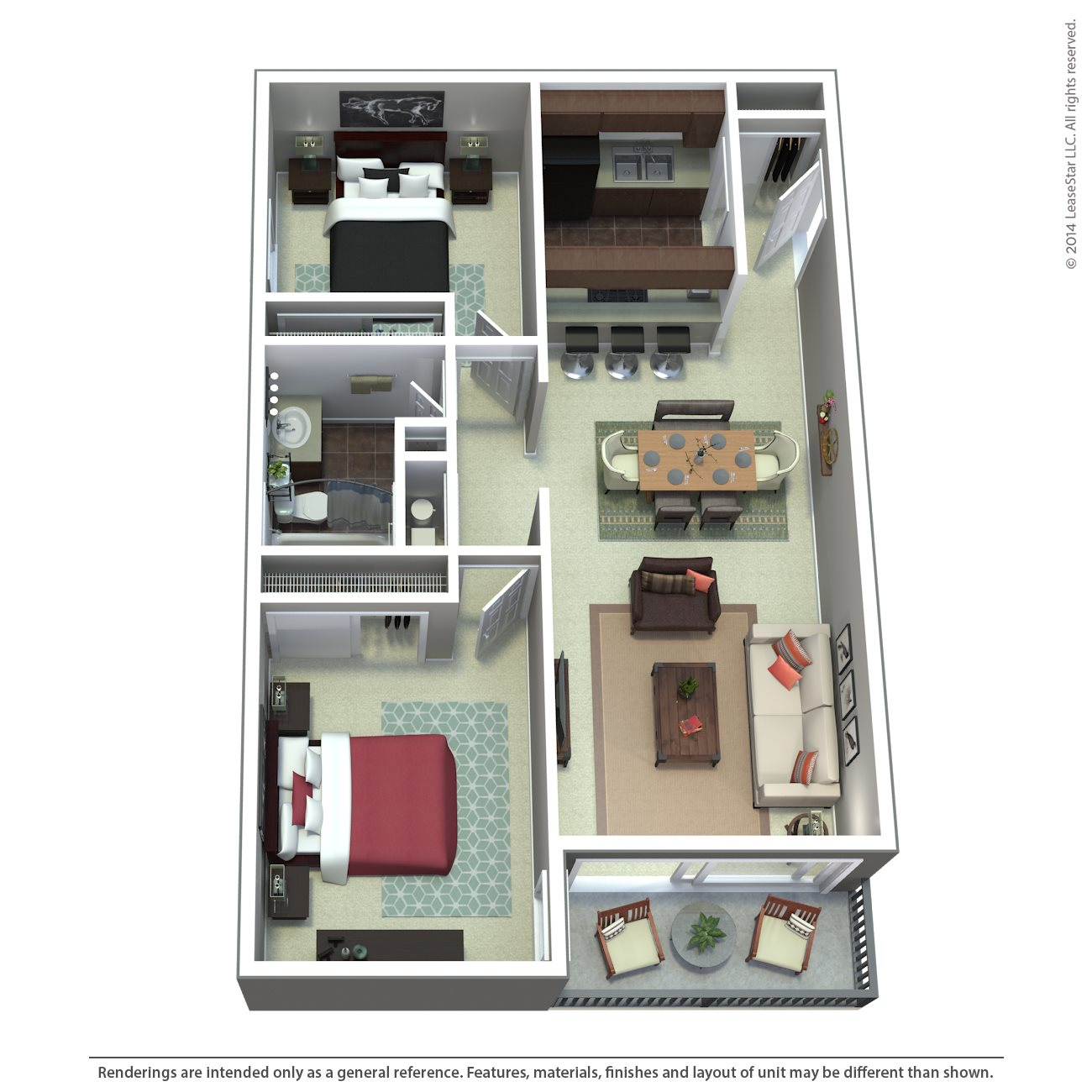 Two Bedroom | D1 | D2 Floor Plan 2