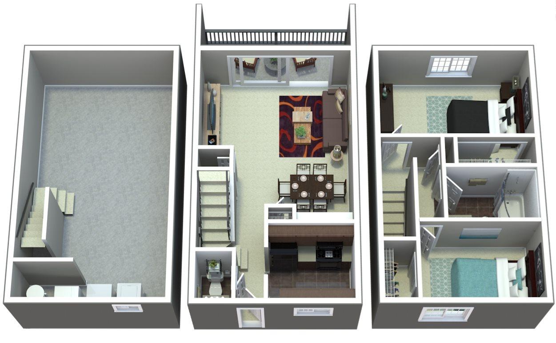 Two Bedroom Townhome | D3 Floor Plan 3