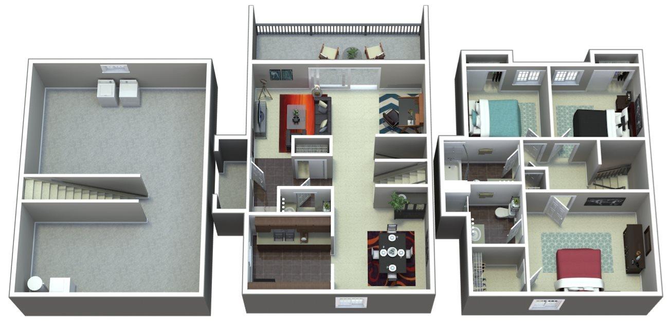 Three Bedroom Townhome | E1 Floor Plan 4