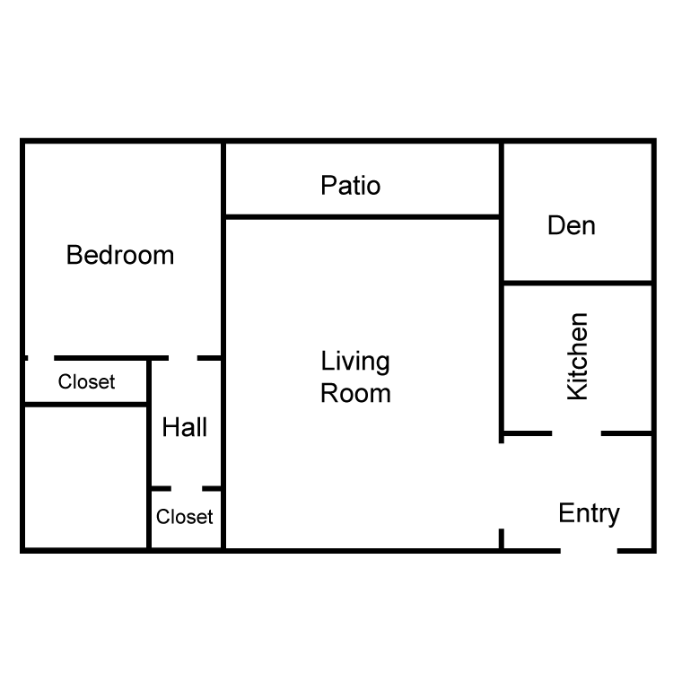 Corinthian 1 Bedroom Plus Den Floor Plan 4