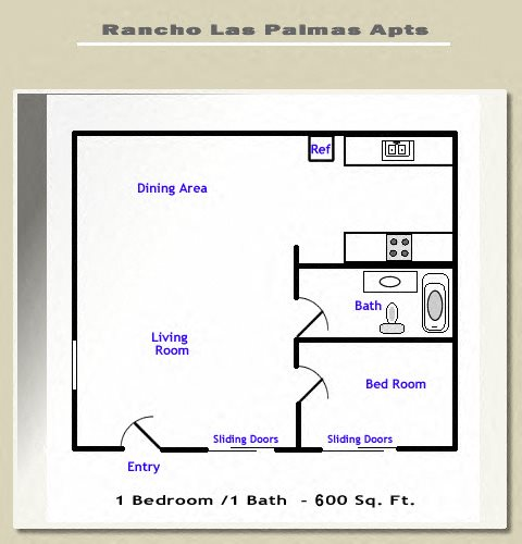 Jr. 1 Bedroom Floor Plan 1