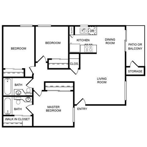 3 Bed 2 Bath Floor Plan 2