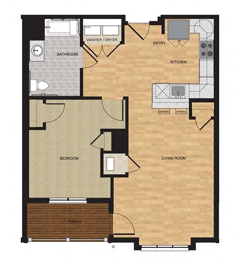 Type HP - One Bedroom Floor Plan 5