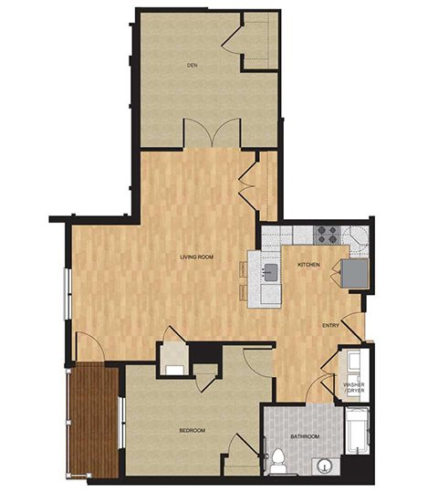 Type HP - One Bedroom with Den Floor Plan 6