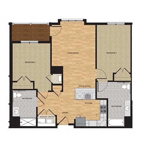 Type HP - Two Bedroom Floor Plan 13