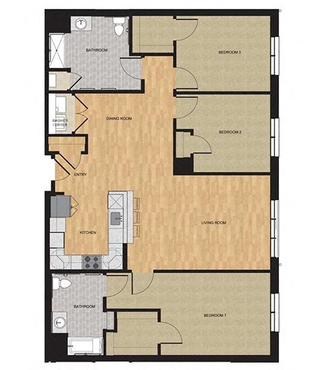Type HP - Three Bedroom Floor Plan 14