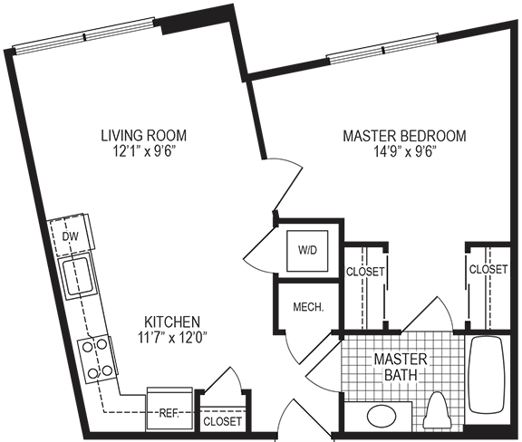 Alloy 1 Bedroom Floorplan