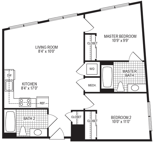 Glow 2 Bedroom Floorplan