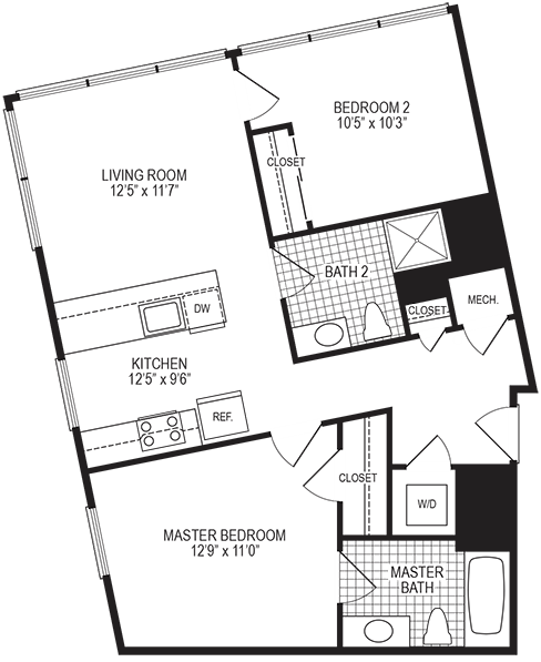 Kelvin 2 Bedroom Floorplan