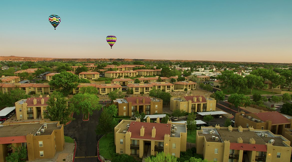 Drone Image of Hot Air Balloons over apartments 87120 for rent now