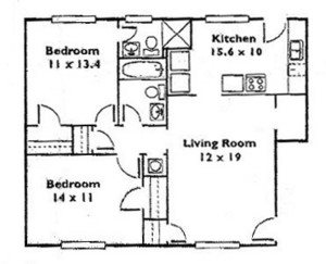 2 Bedroom 2 Bath A Floor Plan 3