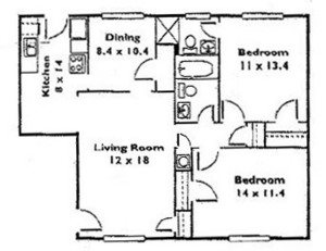 2 Bedroom 2 Bath B Floor Plan 4