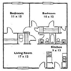2 Bedroom 1.5 Bath Floor Plan 2
