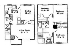 3 Bedroom 2 Bath Townhome Floor Plan 6