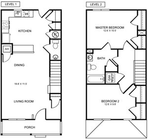 2 Bed 1.5 Bath Townhome