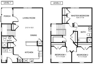 3 Bed 2 Bath Townhome