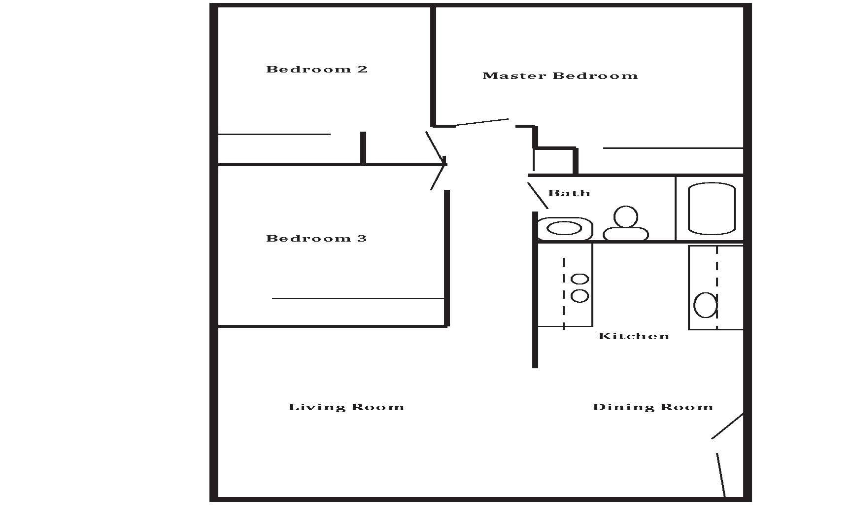 3 Bedroom 1 Bath Floor Plan 4