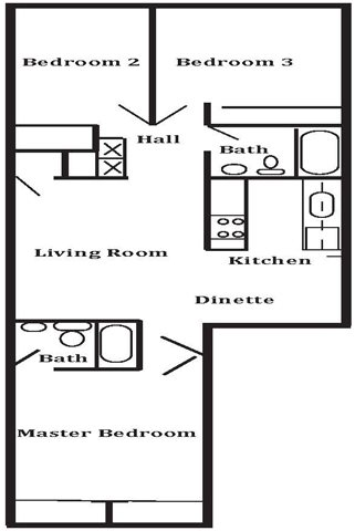 3 Bedroom 2 Bath Floor Plan 5