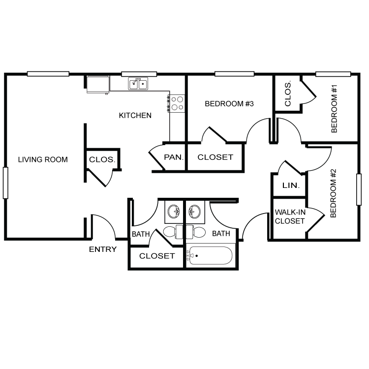 Three Bedroom-Two Bath Floor Plan 3