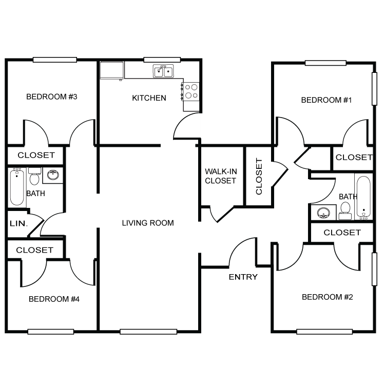 Four Bedroom-Two Bath Floor Plan 4