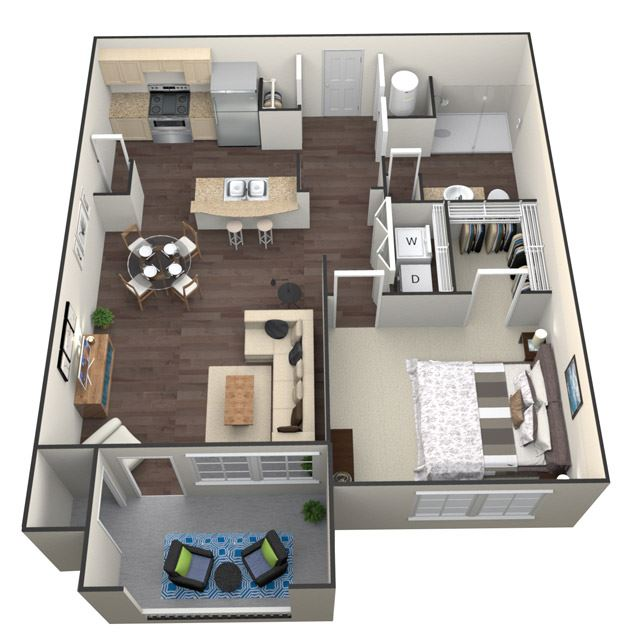 1Bed 1Bath A 1 Unit floorplan at Aventura at Forest Park, St. Louis, MO