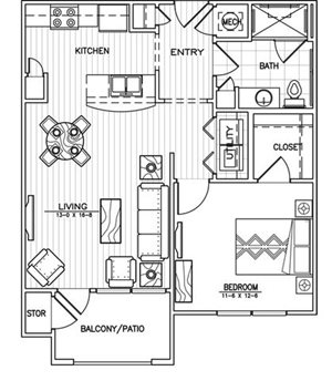 1 Bed 1 Bath Floor Plan at Aventura at Forest Park, St. Louis, MO
