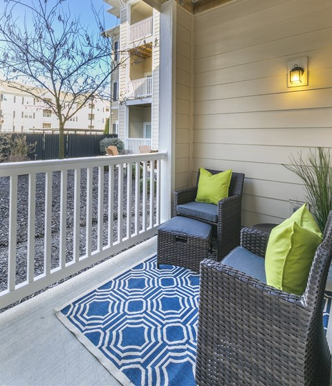 Renovated Patio/Balcony with Seating at Aventura at Forest Park, St. Louis
