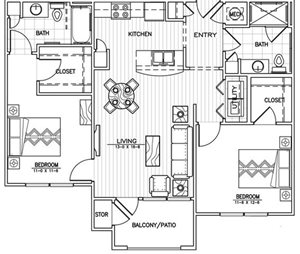 2 Bed 2 Bath Floor Plan at Aventura at Forest Park, St. Louis, 63110