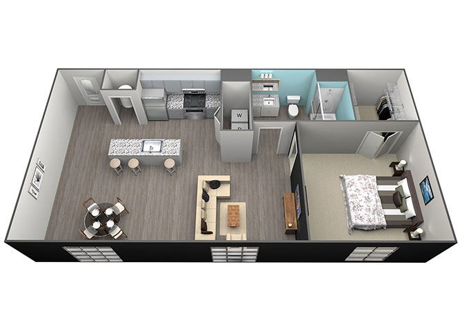 1Bed 1Bath Tower Grove Apartments - A1 Floorplan at Aventura at Forest Park, St.Louis, Missouri