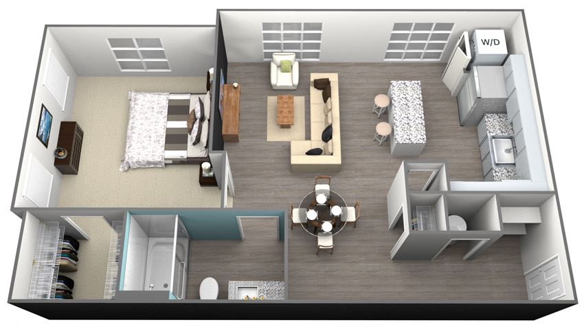 1Bedroom 1Bath - A2 Floorplan at Aventura at Forest Park, St.Louis, MO, 63110