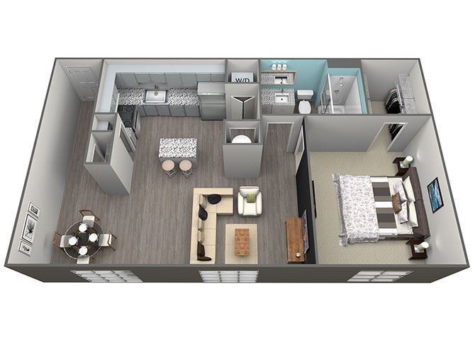1 Bed 1Bath A3 Floorplan at Aventura at Forest Park, St.Louis