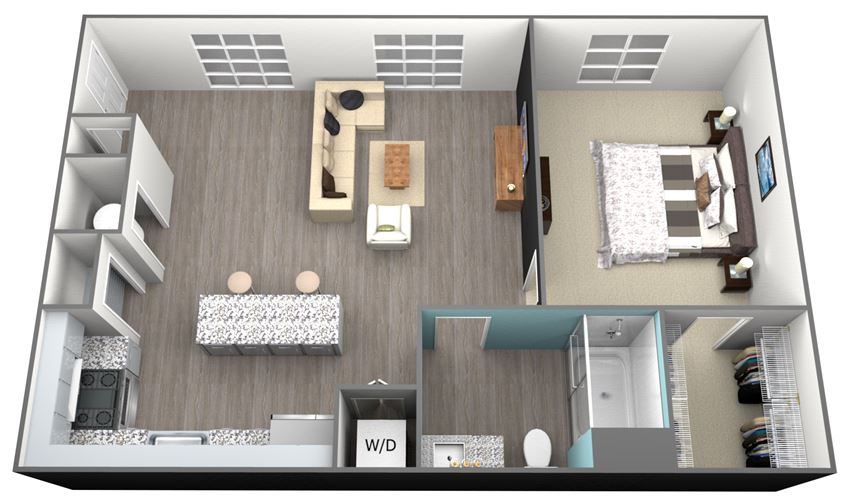 1Bed 1Bath A4 Floorplan at Aventura at Forest Park, St.Louis, MO