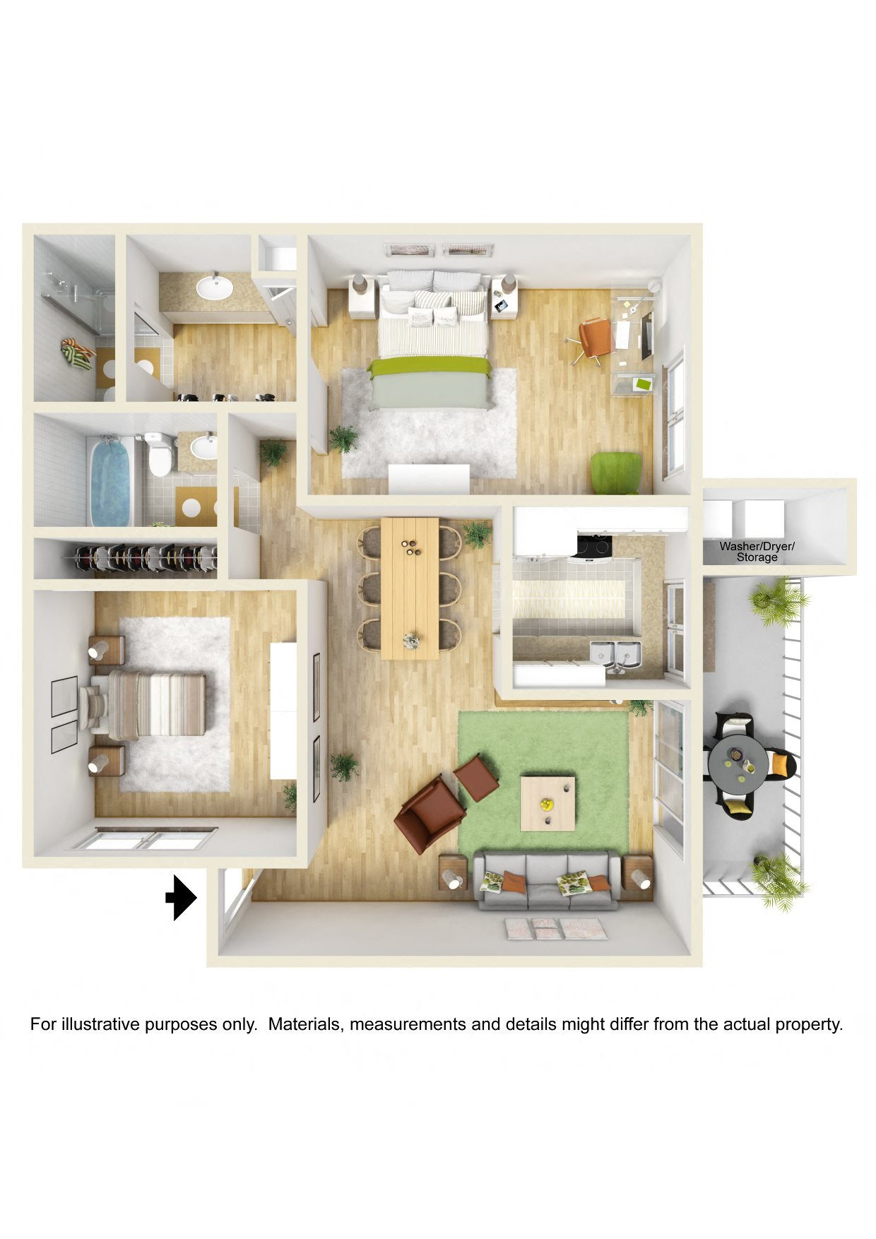 Two Bedroom Two Bath Floor Plan 2