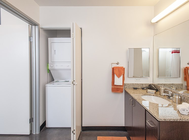 Modern Bathrooms with Washer & Dryer