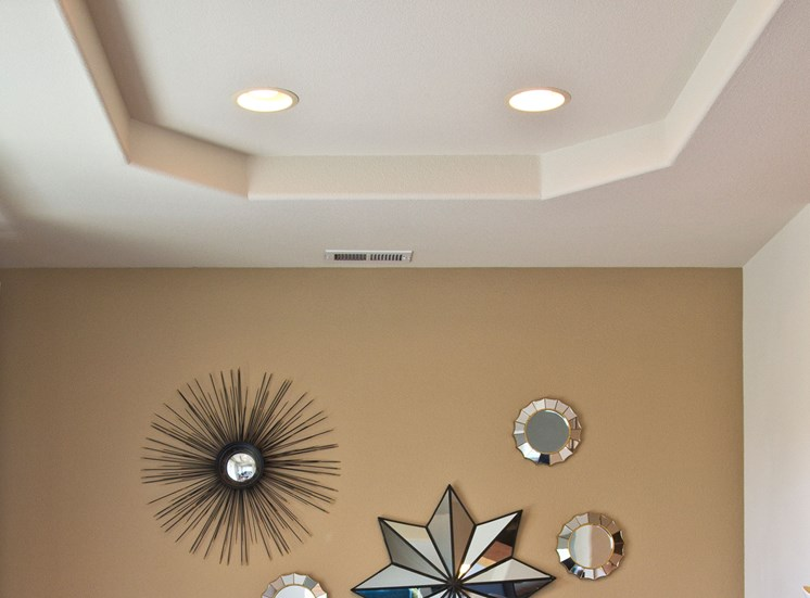 Coffered Ceilings in Dining Room with Recessed Lighting