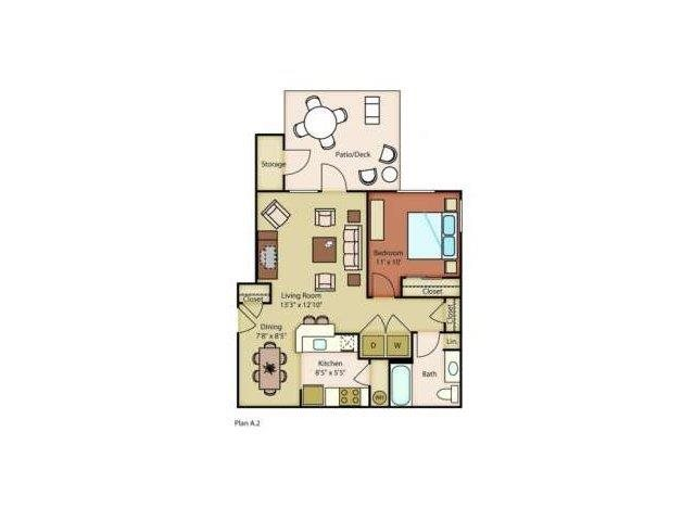 Island View Apartments_Richland WA_Floor Plans_Columbia_One Bedroom One Bathroom
