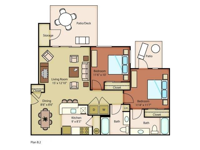 Island View Apartments_Richland WA_Floor Plans_Riverwalk_Two Bedroom One Bathroom