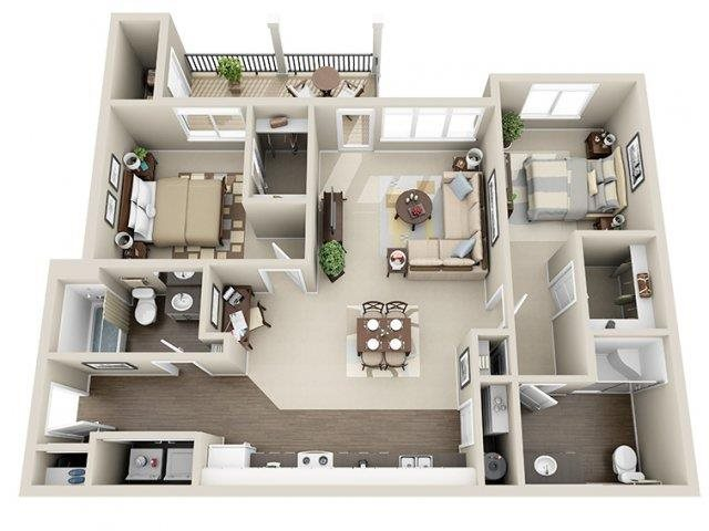 WA_SpokaneValley_River House Apartments_Floor Plan_Two Bedroom Two Bathroom