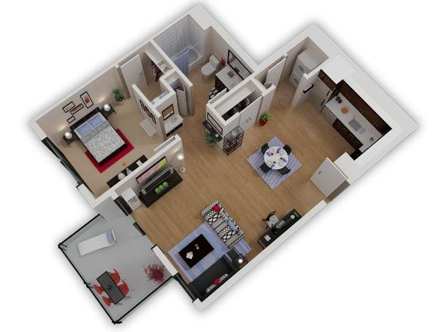 Capitol Yard Apartments_ West Sacramento CA_Floor Plan_One Bedroom One Bathroom A6