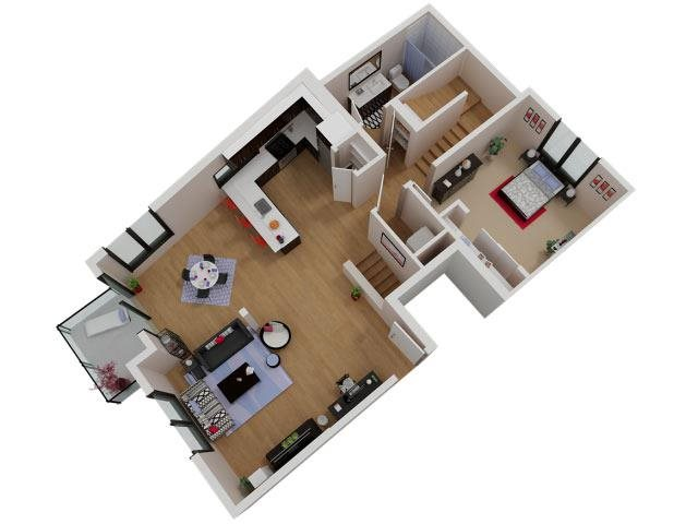 Capitol Yard Apartments_ West Sacramento CA_Floor Plan_Three Bedroom Two Bathroom C1