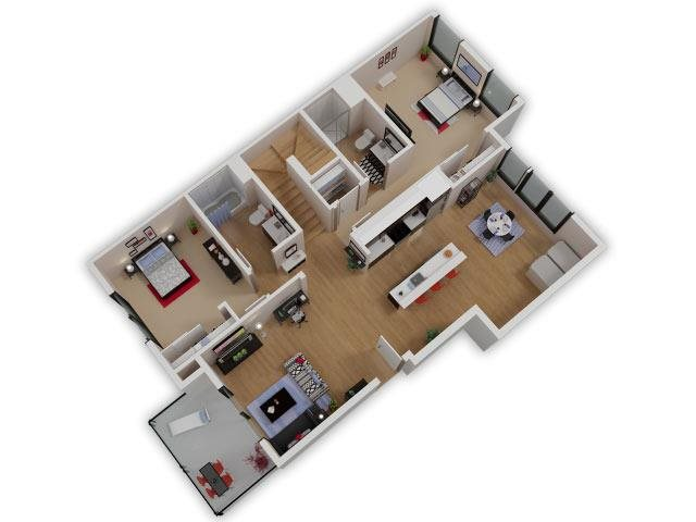 Capitol Yard Apartments_ West Sacramento CA_Floor Plan_Two Bedroom Two Bathroom B1