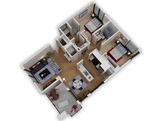 Capitol Yard Apartments_ West Sacramento CA_Floor Plan_Two Bedroom Two Bathroom B6