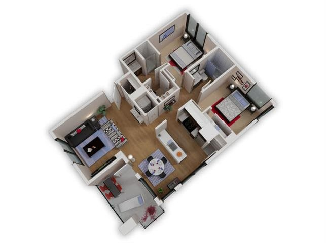 Capitol Yard Apartments_ West Sacramento CA_Floor Plan_Two Bedroom Two Bathroom B7