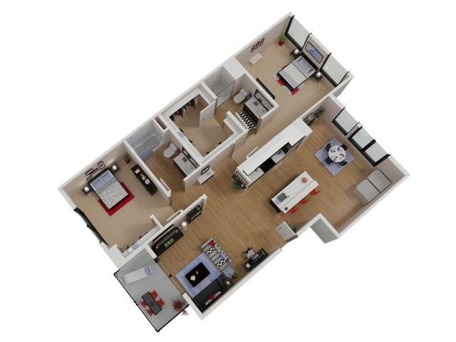 Capitol Yard Apartments_ West Sacramento CA_Floor Plan_Two Bedroom Two Bathroom B9
