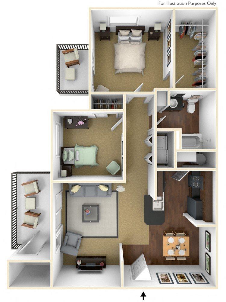 2BR/1BA Floor Plan 2