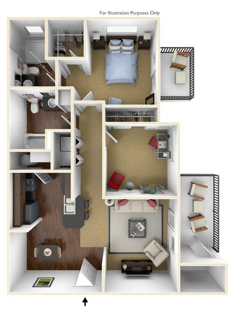 2BR/2BA Floor Plan 3