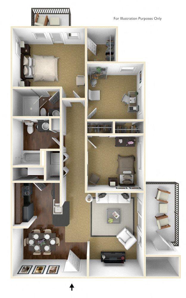 3BR/2BA Floor Plan 4